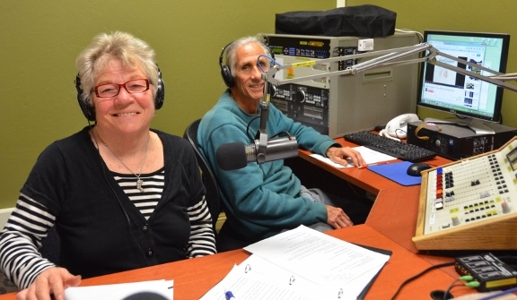 Elaine B. Holtz, host of Women's Spaces, and Ken Norton, sound engineer, in the new studio at Radio KBBF
