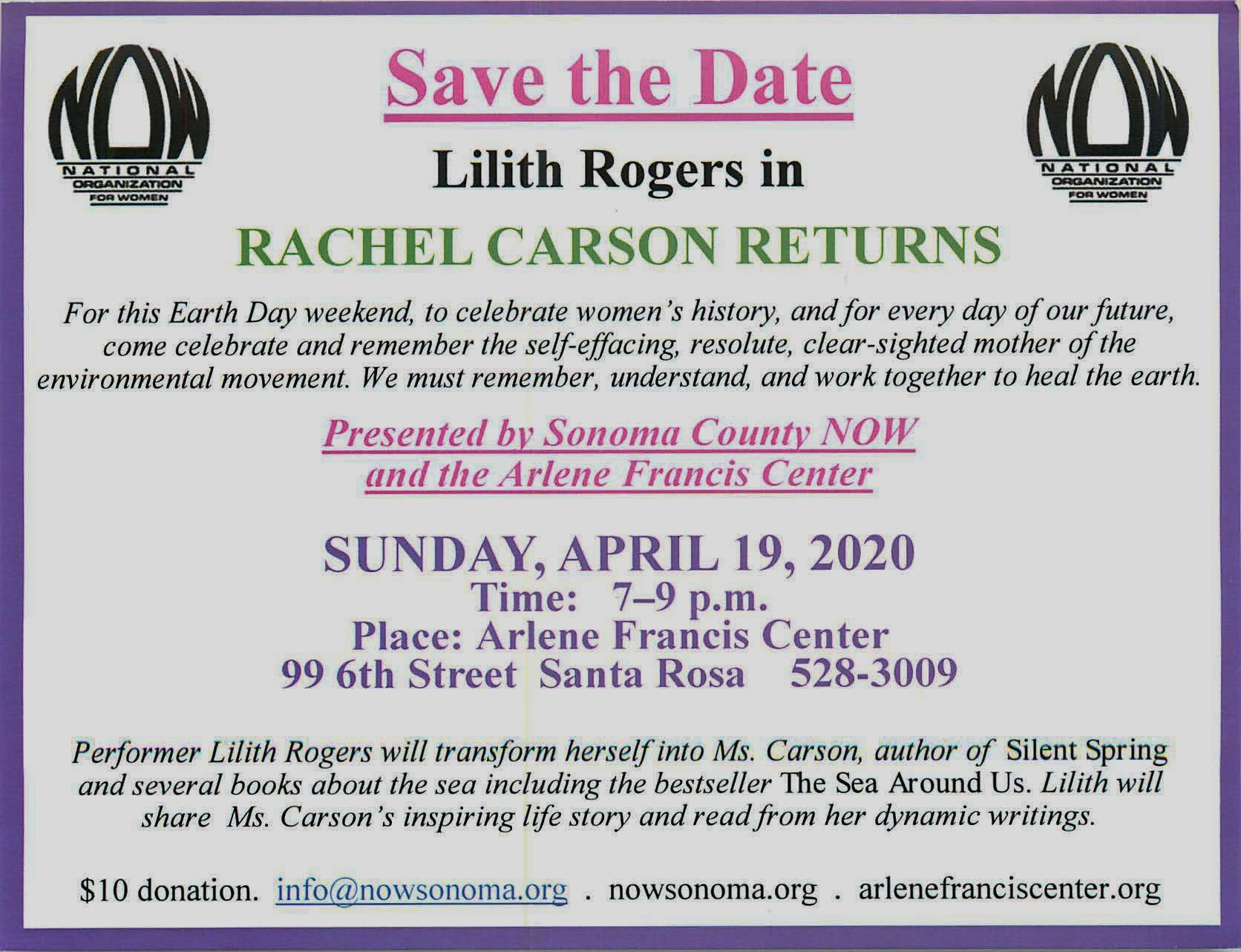 Rachel Carson Returns starring Lilith Rogers