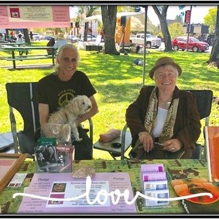 Ken Norton and Elaine Holtz at Women's Spaces Booth at the Petaluma Progressive Festival August 2019